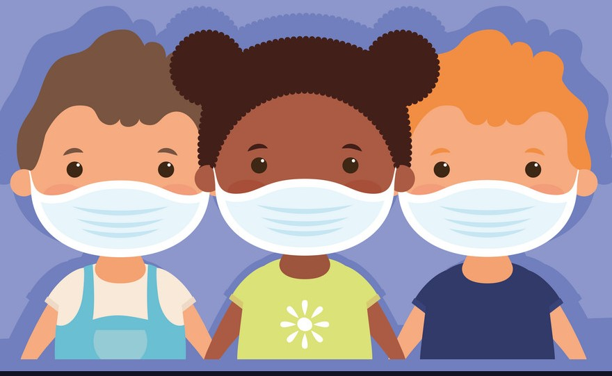 interracial little kids using face masks vector 30747430